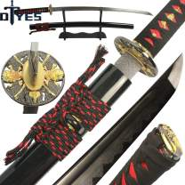 DTYES Full Handmade Japanese Samurai Katana Sword, Functional, Hand Forged, 1060/T10 Carbon Steel/Damascus Folded Steel, Heat Tempered/Clay Tempered, Full Tang, Sharp, Wooden Scabbard