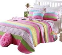 HNNSI Kids Girls Comforter Quilt Sets Twin Size, Pink Dot Striped Cotton Bedspread, Children Comfy Pretty Girls Bedding Sets