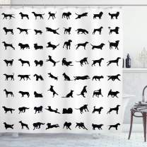 "Lunarable Black and White Shower Curtain, Different Silhouettes Dogs Various Breeds Corgi Golden Retriever Pitbull, Cloth Fabric Bathroom Decor Set with Hooks, 75"" Long, Black"