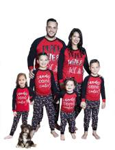 Matching Family Christmas Pajamas Letter Print Shirts Candy Cane Pants Adult Kids Cotton Sleepwer