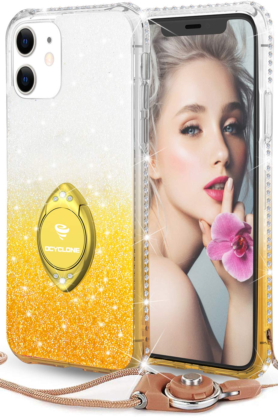 OCYCLONE Glitter iPhone 11 Case, Full Body Luxury Cute Bling Diamond Rhinestone with Ring Grip Kickstand Soft Thin Girly Protective Phone Case for Women Girl iPhone 11 Case [6.1 inch], Gradient Gold