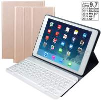 Eoso iPad Keyboard Cover case with Detachable Wireless Keyboard for Apple New iPad 9.7 2018/2017 Tablet/9.7/Air/Air 2 (Gold)