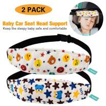 Packs of 2 Toddler Car Seat Neck Relief and Head Support, Pillow Support Head Band Easy Installation On Most Convertible Seats and Safety to Babies and Kids(Bear)