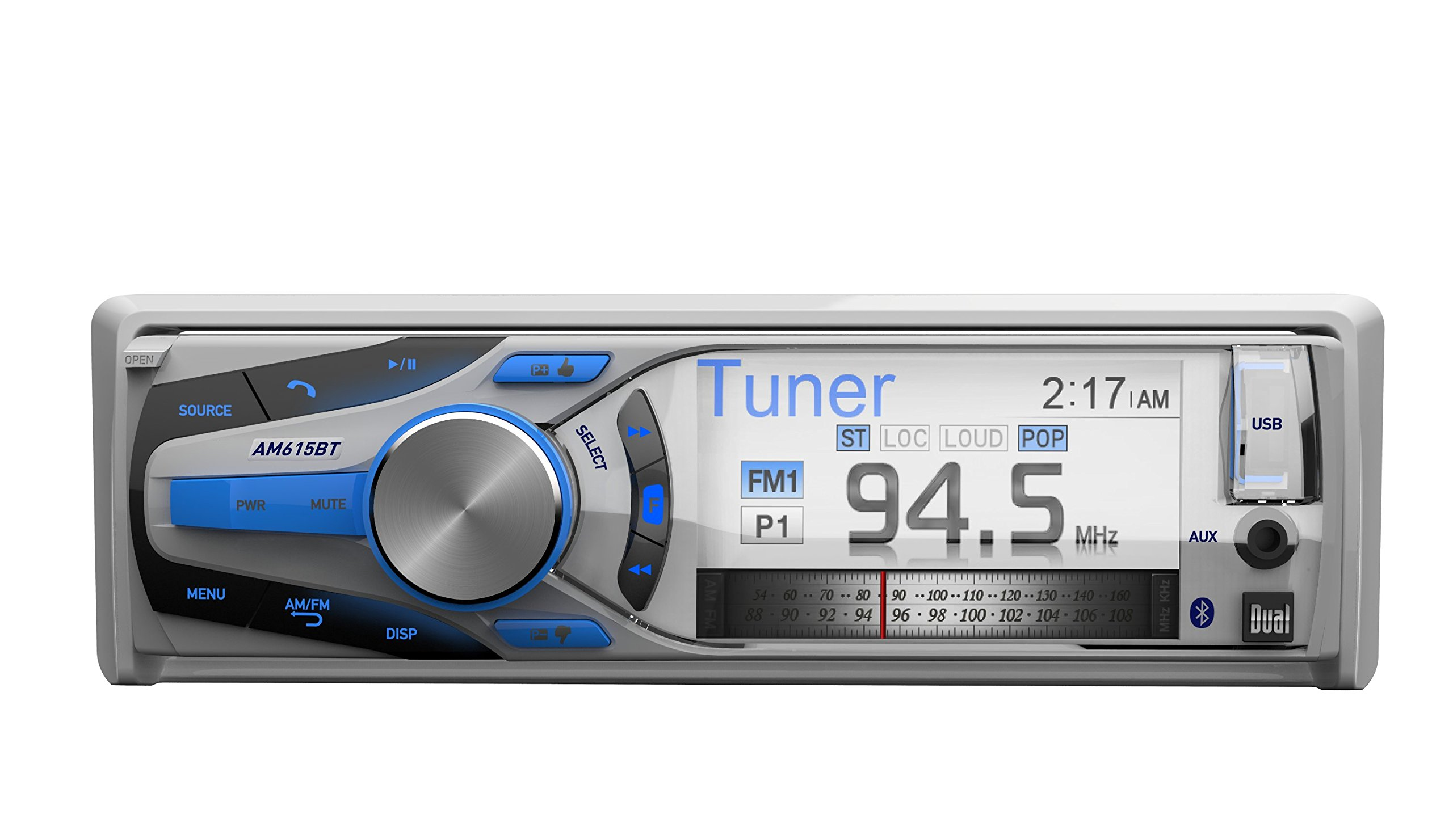 Dual Electronics AM615BT 3 inch Full Color Multi-Line Detachable Single DIN Marine Stereo with Built-In Bluetooth & MP3/WMA Player