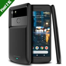 NEWDERY Google Pixel 2 XL Battery Case, Pixel 2 XL 5200mAh Charger Case Backup Charging Case with LED Indicator, USB Type C Compatible Pixel 2 XL (Black) - Not Pixel 2