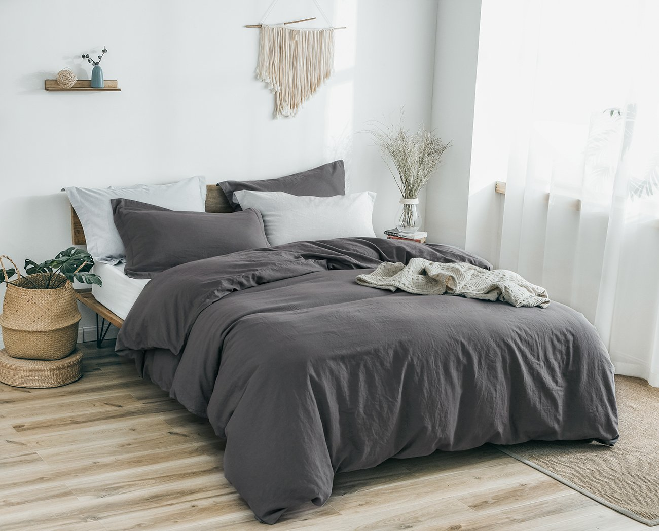 PHF Washed Linen Cotton Duvet Cover and 2 Pillowshams Luxury Soft Vintage Bedding Set for Winter King Size Charcoal