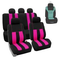 FH Group FB036115 Striking Striped Seat Covers (Pink) Full Set with Gift – Universal Fit for Cars Trucks & SUVs