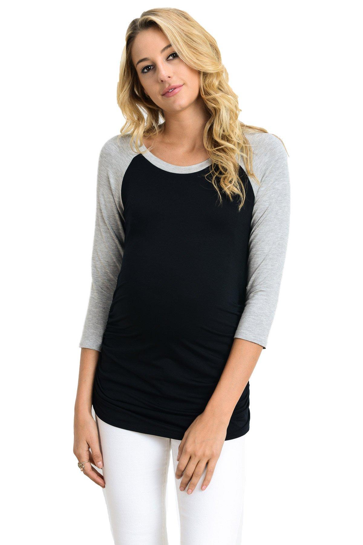 LaClef Women's Maternity T-Shirts Top with Baseball Raglan