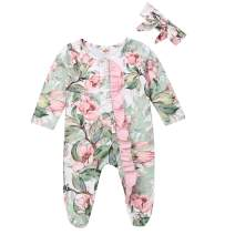 Unisex Newborn Baby Footed Pajama Rompers Zip up Long Sleeve Jumpsuit Coveralls Button Sleepwear Playsuit