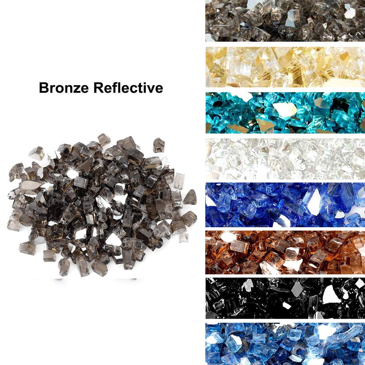 Skyflame High Luster 10-Pound Fire Glass for Fire Pit Fireplace Landscaping, 1/4-Inch Bronze Reflective