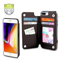 Gear Beast Top Grain Genuine Leather Protective Top View Slim Wallet Case Fits iPhone 8 Plus /7 Plus Includes RFID Protection, Flip Folio Cover, with Five Card Slots Including Transparent ID Holder