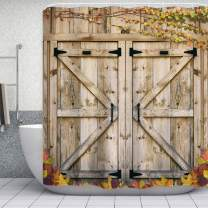 "ORTIGIA Wooden Barn Door Shower Curtain Set,Rustic Bathr Curtains,Vintage Farmhouse Shower Curtains,Waterproof Polyester Fabric Shower Curtain,72"" W x 72"" L,with Hooks"
