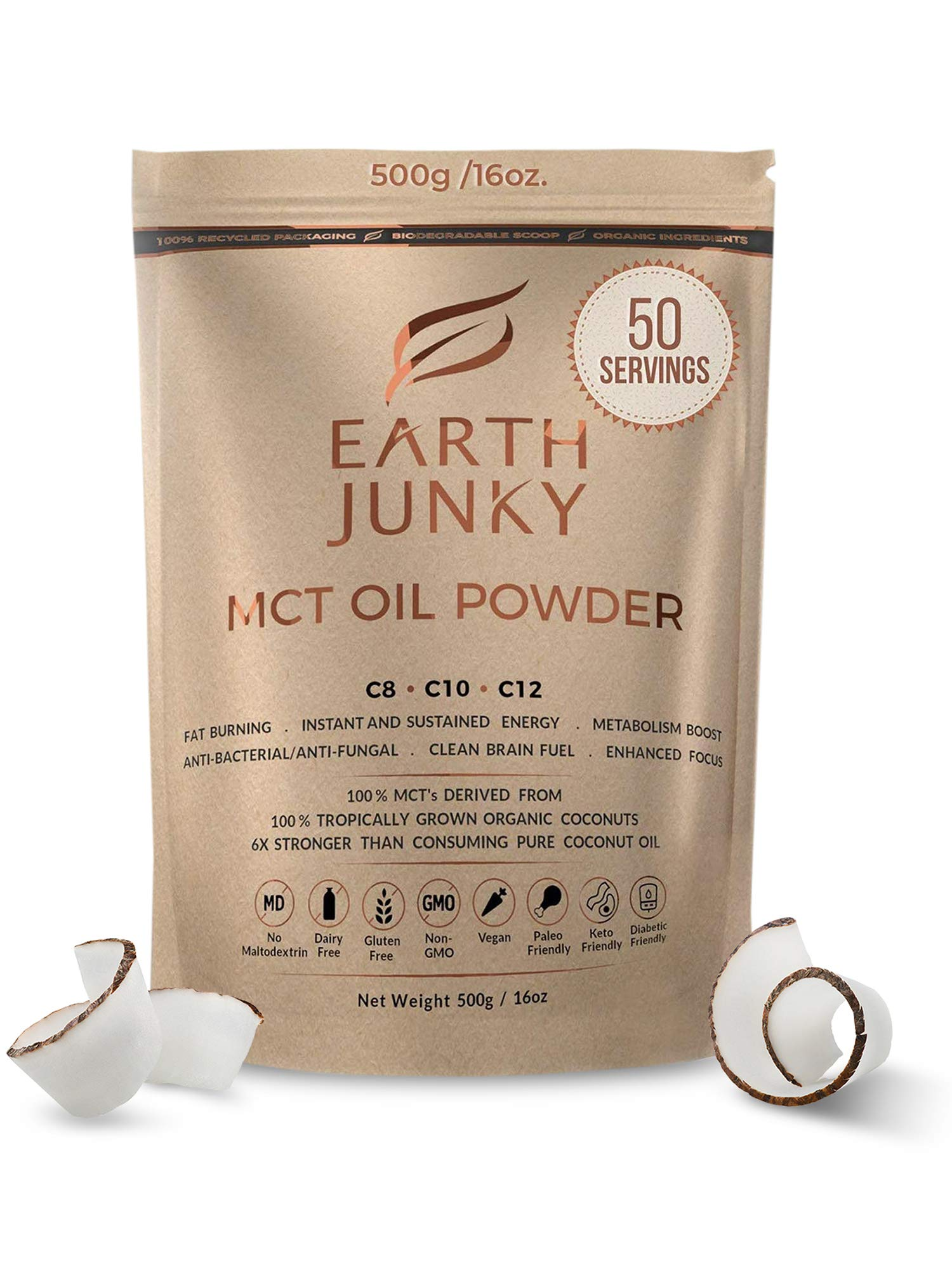 Organic MCT Oil Powder Unflavored - Clean Keto MCT Powder - MCT Powder Creamer for Coffee - 100% Natural Brain Fuel and Instant Energy Boost - Improved Digestion, MCT c8 c10 c12-50 Servings - 16oz