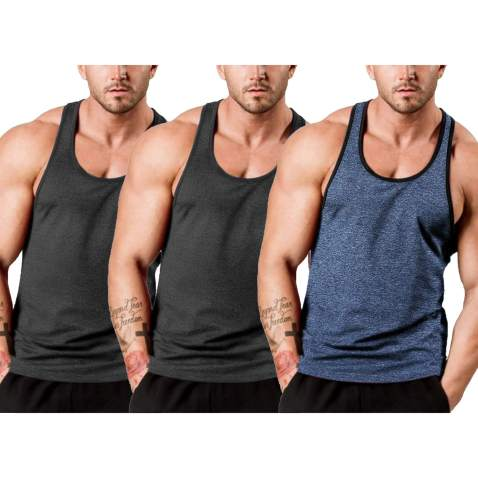 COOFANDY Mens 3 Pack Workout T Shirts Short Sleeve Gym Bodybuilding Muscle Shirts Base Layer Fitness Tee Tops