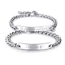 Cupimatch 2pcs CZ His and Hers Couple Bracelets Set, Adjustable Titanium Stainless Steel to The Moon and Back I Love You Love Matching Bracelet Link Jewelry Set