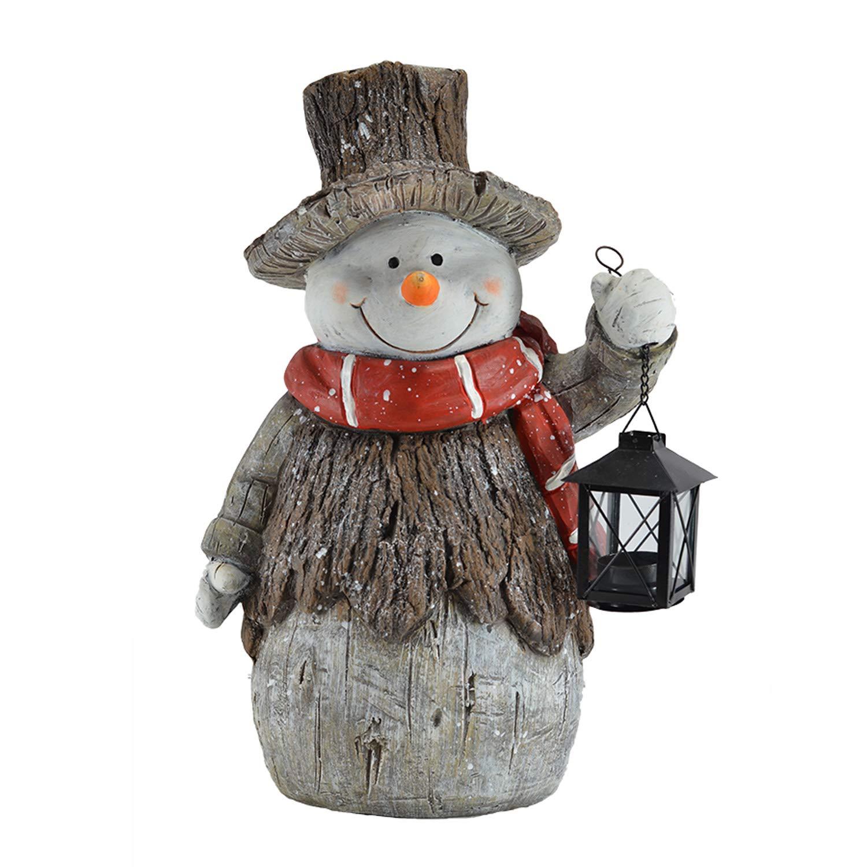 Mark Feldstein & Associates Woodsy Snowman with Lantern LED Light Up 17 Inch Resin Stone Door Greeter Figurine