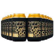 Crisky 60th Birthday Beer Sleeve,Cheers and Beers to 60 Years Birthday Decoration Party Favor Can Covers, 12-Ounce Neoprene Coolers for Soda, Beer, Can Beverage, 24 Pcs