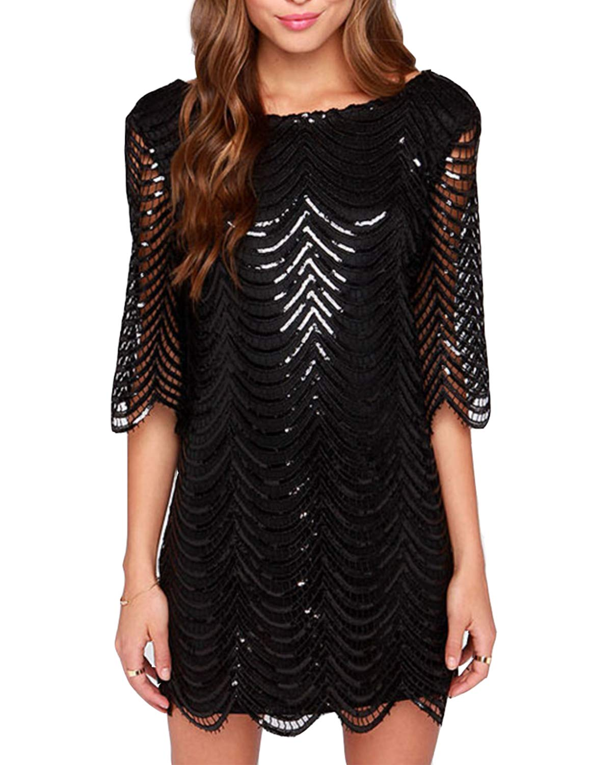 ASMAX HaoDuoYi Womens Sparkle Sequin Lace Hollow Out Half Sleeves Mini 1920's Party Dress