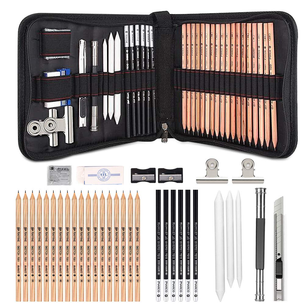 35 Pieces Sketching Drawing Pencils Art Set,GOLP Perfect for Beginners Art Kit,Charcoal Pencils, Erasers and Paper Pens,Free Clips- Art Supplies, Drawing Pencils, Graphite Pencils, Sketching Supplies