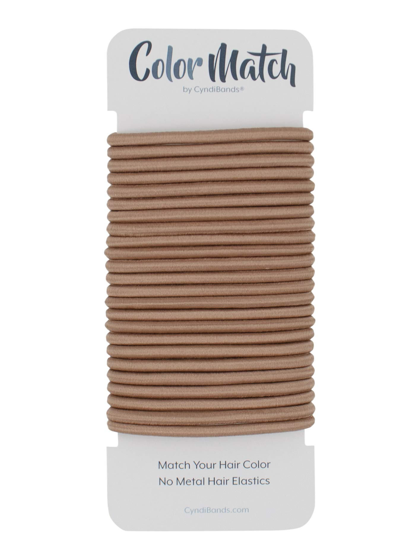 Rose Gold Brown No-Metal 4mm Elastic Hair Ties Color Match Ponytail Holders - 24 Count