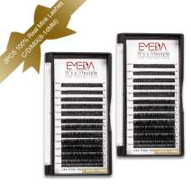 2 Packs 100% Real Mink Individual Eyelash Extensions C D Curl Mixed 8mm 10mm 12mm 14mm3 Rows Tray 3D False Eye Lash Extension Lashes Strips Professional Set by EMEDA