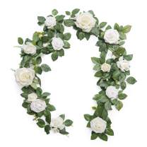Ling's moment Handcrafted 5ft Ivory Rose Flower Garland for Wedding Table Centerpieces Arch Flowers Decoration