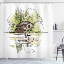 """Ambesonne Landscape Shower Curtain, Sketch of Lake House in The Forest Hand Drawn Composition Vacation, Cloth Fabric Bathroom Decor Set with Hooks, 75"""" Long, Green Brown"""