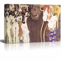 "wall26 - Beethoven Frieze - The Hostile Forces by Gustav Klimt - Canvas Print Wall Art Famous Oil Painting Reproduction - 16"" x 24"""