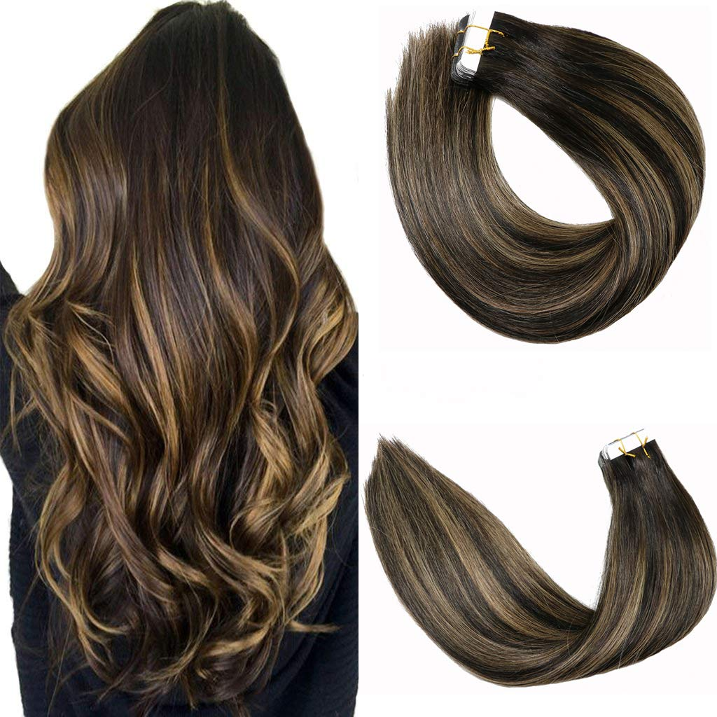 Tape In Hair Extensions 20pcs/50g Per Set #1BT6P1B Natural Black to Chestnut Brown Highlight Black Piano Color Double Sided Tape Skin Weft Remy Silk Straight Hair Glue in Extensions Human Hair 14 Inch