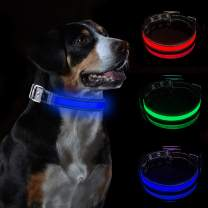 LED Dog Collar Dog Collar Water Resistant Reflective Super Bright Flashing Nylon USB Rechargeable Safety Pet Collar with 3 Light Mode with 10 Hours Working Time for Small,Medium Or Large Dogs