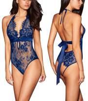 ALOECDYV Women Sexy Lingerie Backless Lace Babydoll Teddy Underwear Black