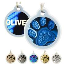Engraved Cat Tags with Silencer - Personalized with 4 Lines of Custom Engraved ID, Round Paw Print Solid Plating Stainless Steel in 5 Colors: Gold, Rose Gold, Blue, Black, Nebula