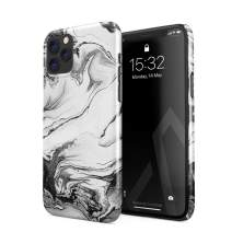 BURGA Phone Case Compatible with iPhone 11 PRO MAX - Silver Flow Water Grey Black and White Marble Cute Case for Girls Thin Design Durable Hard Shell Plastic Protective Case