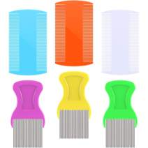 6 Pieces Hair Comb Fine Removal Combs, Include 3 Pieces Metal Teeth, 3 Pieces Double Sided Teeth for Grooming and Removing Dandruff Flakes (Assorted Colors)