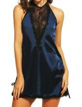 Avidlove Women Lingerie Halter Stretch Satin Sleepwear Patchwork Lace Chemises