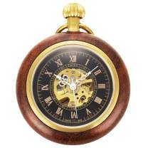 ManChDa Steampunk Mechanical Hand Wind Skeleton Pocket Watch Roman Copper Wooden with Chain Gift Box