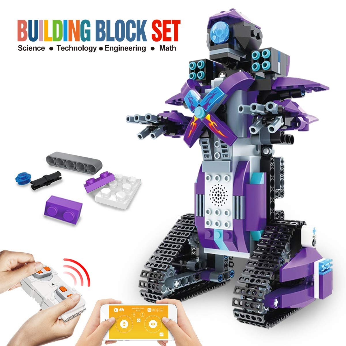 DAZHONG Remote Control Robot STEM Application Building Block Robot Education kit Remote Control Engineering Science Education Building Toy boy Girl Learning Smart Gift(Purple)