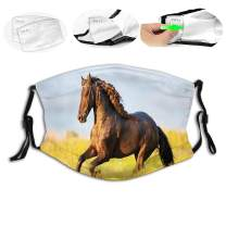 GULTMEE Face Cloth Mouth Anti-Dust,Horses,Friesian Horse with Mane Gallops in Meadow Equestrian Mystery Vitality Horse,Yellow Brown Blue,M-Shaped Adult Kids Reusable Facial Nose Filter Riding Outdoor