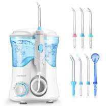 Dental Water Flosser Teeth Cleaner - Zerhunt High Frequency Pulsed Water Pick Electric Oral Irrigator with 7 Interchangeable Nozzles For Braces, Implants, Bridges,600ML Large Capacity White