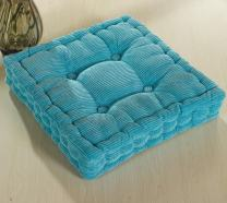 ChezMax Soft Corduroy Cotton EPE Cotton Filled Chair Cushion Thickened Tatami Solid Color Pad for Home Office Dinning Chair Indoor Outdoor Seat Chair Pad Sky Blue 18 X 18 inch