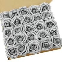 N&T NIETING Artificial Flowers Roses, 25pcs Real Touch Artificial Foam Rose with Stems for Cake Decoration, Wedding Bridesmaid Bridal Bouquets Centerpieces, Party Decoration, Home Display-Silver Grey