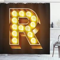 """Ambesonne Letter R Shower Curtain, Old Carnival Themed Alphabet Capital R Vibrant Colored Image Print, Cloth Fabric Bathroom Decor Set with Hooks, 70"""" Long, Caramel Yellow R"""