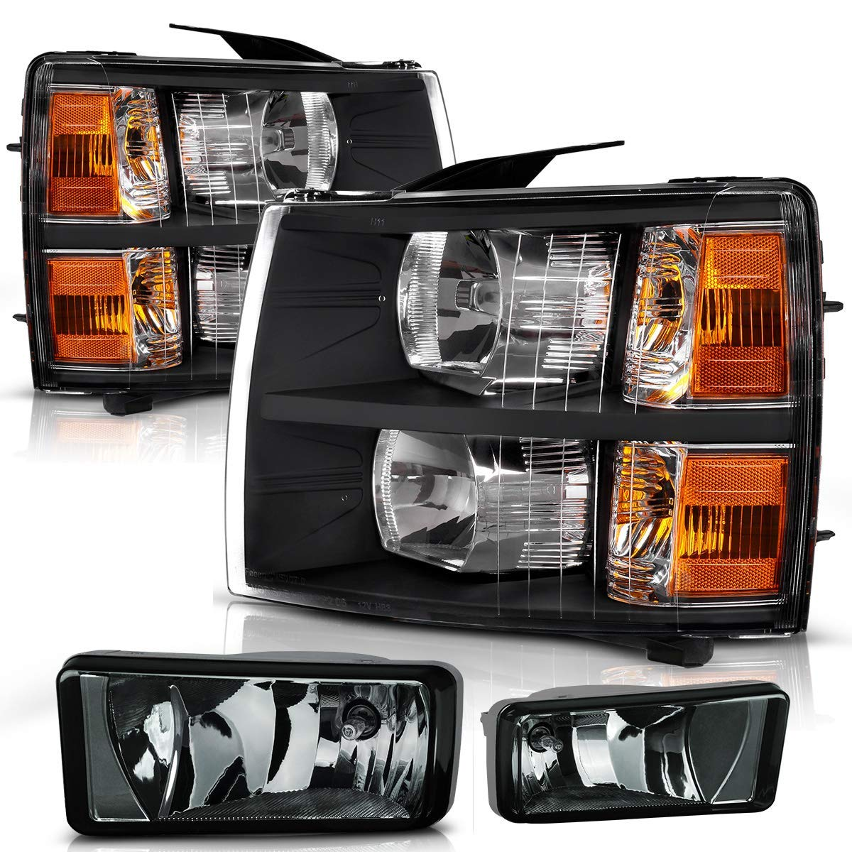 Headlight Assembly and Fog Lights Set Compatible with 2007-2013 Chevy Silverado 1500/2007-2014 Silverado 2500HD 3500HD