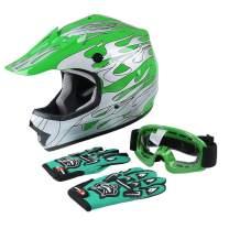 SLMOTO DOT Youth Motocross Helmet Child Kids Motorcycle Full Face Offroad Helmet Dirt Bike ATV Downhill Off-Road Green Flame Helmet+Goggles+Gloves