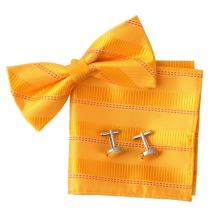 Epoint EBC1005 Bowtie Gold Bowtie Stripes Xmas Gifts Silk Pre-tied Bowtie Cufflink Hanky Set