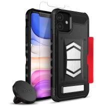 ZIZO Electro Series iPhone 11 Case - Military-Grade Protection w/Kickstand Hidden Card Slot Tempered Glass Magnetic Air Vent Holder - Black