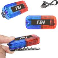 LED FBI Costume Toys Car Bike Lights, Ultra Bright Blue & Red Clip on Light, Federal Agent Role Play Dress Up Accessories for Kids Boys Men women, Flashlight for Birthday Glow Party Favor Supplies