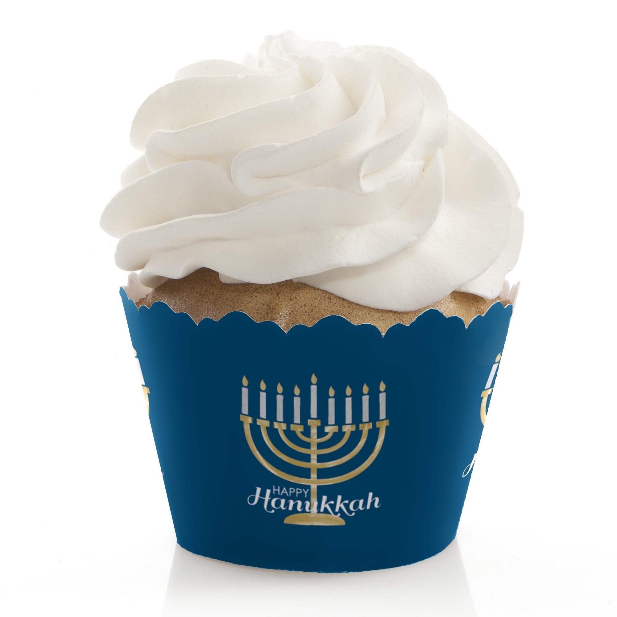 Big Dot of Happiness Happy Hanukkah - Chanukah Party Decorations - Party Cupcake Wrappers - Set of 12