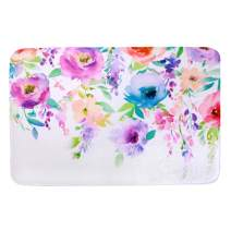 "LIVILAN Watercolor Floral Door Bath Mat, Soft Memory Foam Non Slip Bath Rug, Shaggy Bathroom Floor Carpet Machine Washable, 16"" x 24"""