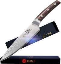 KUMA VG10 Damascus Chef Knife – 8 inch Chef Knife with Premium High Carbon Hardened Steel - Balanced Ergonomic Coffee Pakka Wood Handle & Sheath - Sushi Chef Knife - Stain & Corrosion Resistant Blade